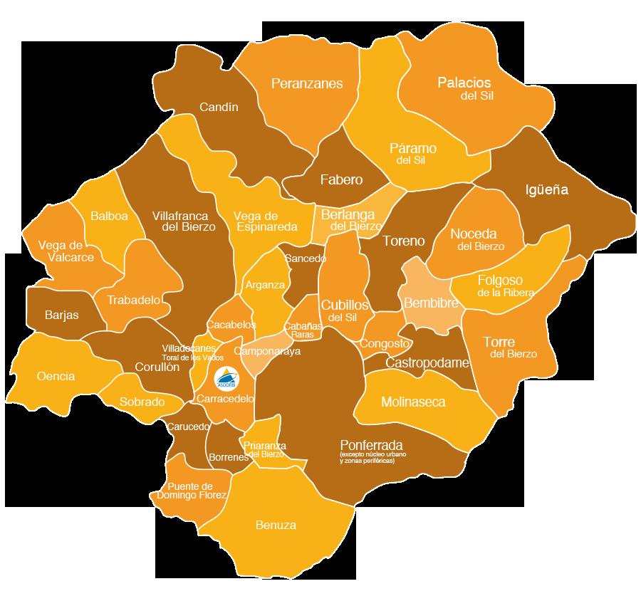 Mapa Del Bierzo Leon.Asodebi Asociacion Para El Desarrollo De La Comarca Berciana